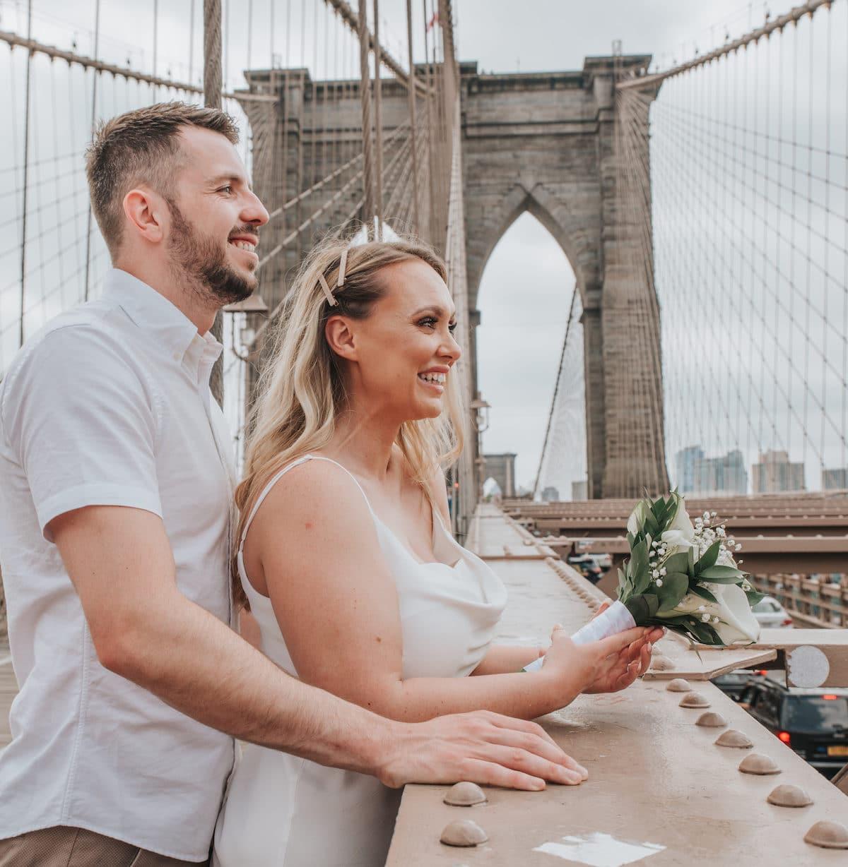 city hall wedding brooklyn bridge shoot