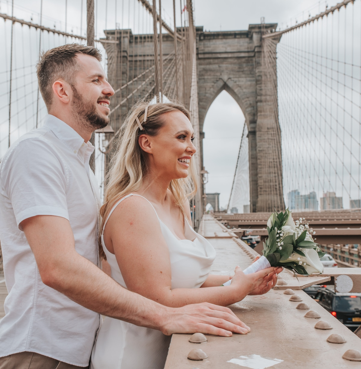 city hall wedding brooklyn bridge shoot