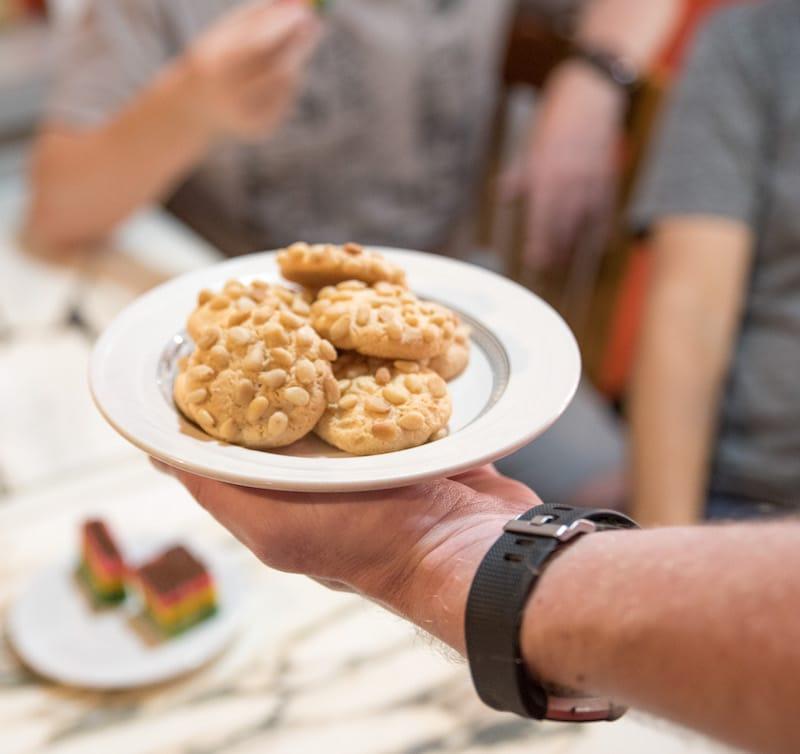 pignoli cookies on athur avenue in the bronx